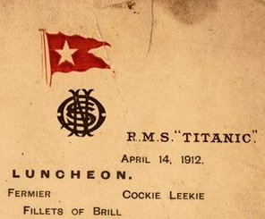 The Titanic's last lunch menu sells for $88,000