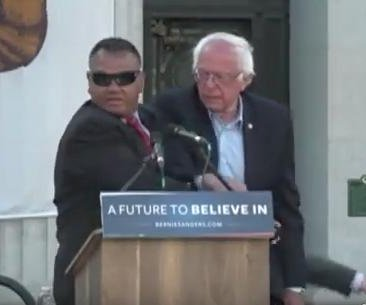 Protesters prompt Secret Service to jump stage at Bernie Sanders rally