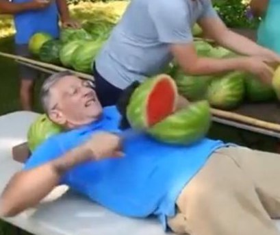 Man sets record by slicing watermelons on stomach