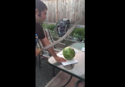 Watermelon cutting attempt sends sword through glass table