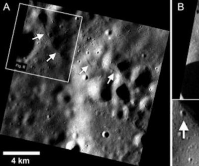 Messenger probe images fault scarps on Mercury's surface