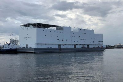 Navy's newest 'berthing barge' leaves the factory