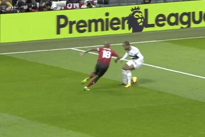 Manchester United's Ashley Young nutmegs, gets top shelf goal