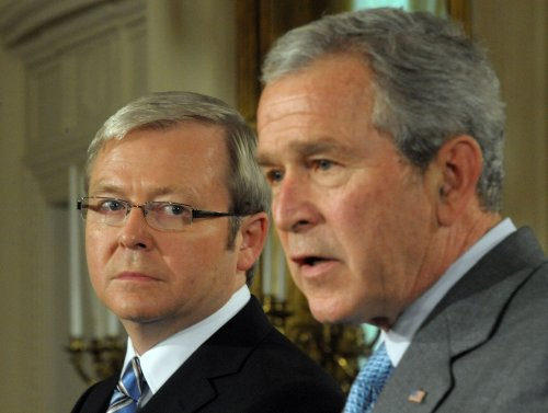 Rudd calls salute to Bush a joke