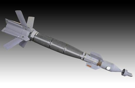 Weapons with Lockheed's enhanced Dual Mode Laser Guided Bomb kit on target