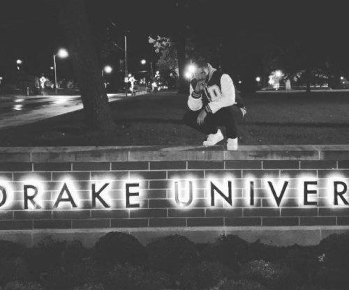 Drake makes surprise visit to Iowa's Drake University, finds only one student awake
