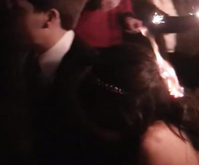 Sparkler lights bride's hair on fire at Tennessee wedding