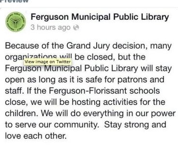 Ferguson Public Library: calm in the center of the storm, place for communal peace