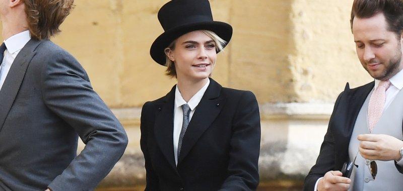 cara delevingne wears suit top hat to royal wedding upi com