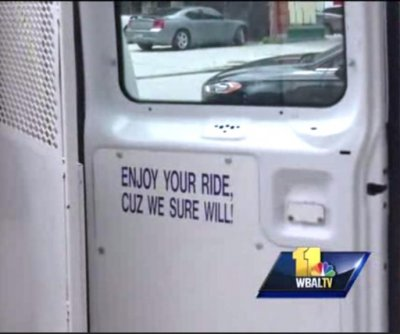 'Enjoy your ride' sign on Baltimore police van raises questions