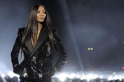 Naomi Campbell closes Saint Laurent show at Paris Fashion Week