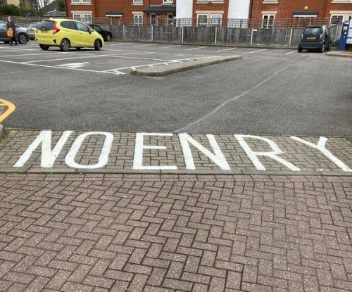 Newly painted road in Britain misspells 'ENTRY' as 'ENRY'