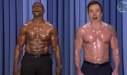 Terry Crews and Jimmy Fallon perform shirtless duet on 'Tonight Show'