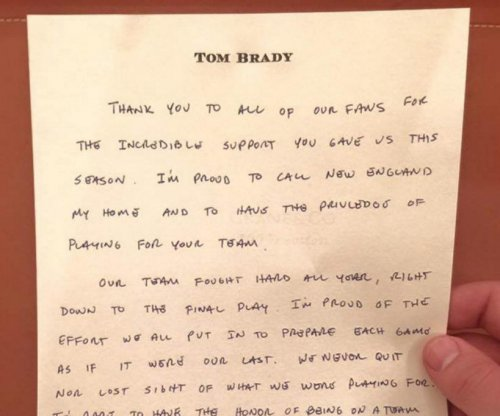 Tom Brady writes letter to New England Patriots fans