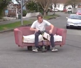 Men cruise streets in 'motorized drift couch'