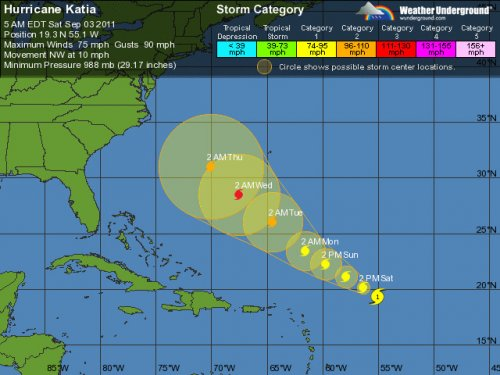 Katia back to tropical storm status