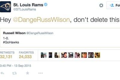 St. Louis Rams troll Seattle Seahawks' Russell Wilson