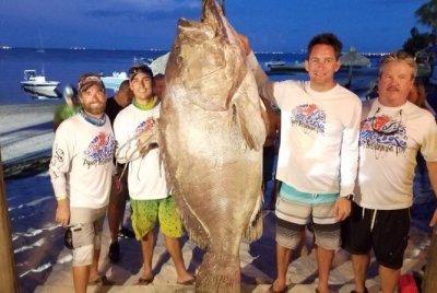 Florida firefighter catches massive 409-pound grouper