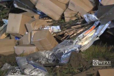 Semi overturns on Pennsylvania highway, spills dog food