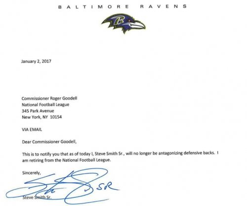 Steve Smith takes shot at NFL DBs in retirement letter