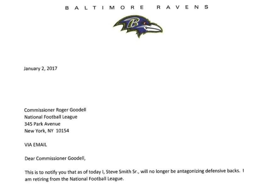 Steve Smith takes shot at NFL DBs in retirement letter UPI – Retirement Letter