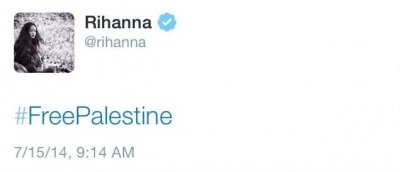 Rihanna tweets, later deletes '#FreePalestine'
