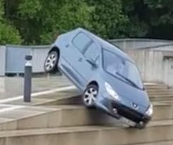 Driver's poor decisions take car down steep concrete stairs