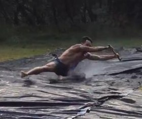 Australians construct motorized water slide to celebrate summer