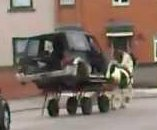 Horse-drawn SUV turns heads in Irish city