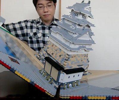Japanese man makes giant pop-up-book-style Lego castle