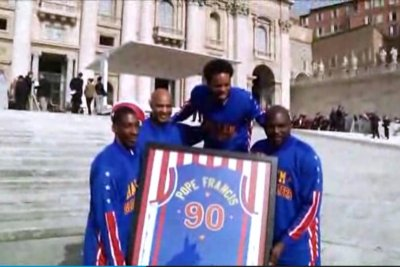 Pope Francis ups his game, becomes honorary Globetrotter