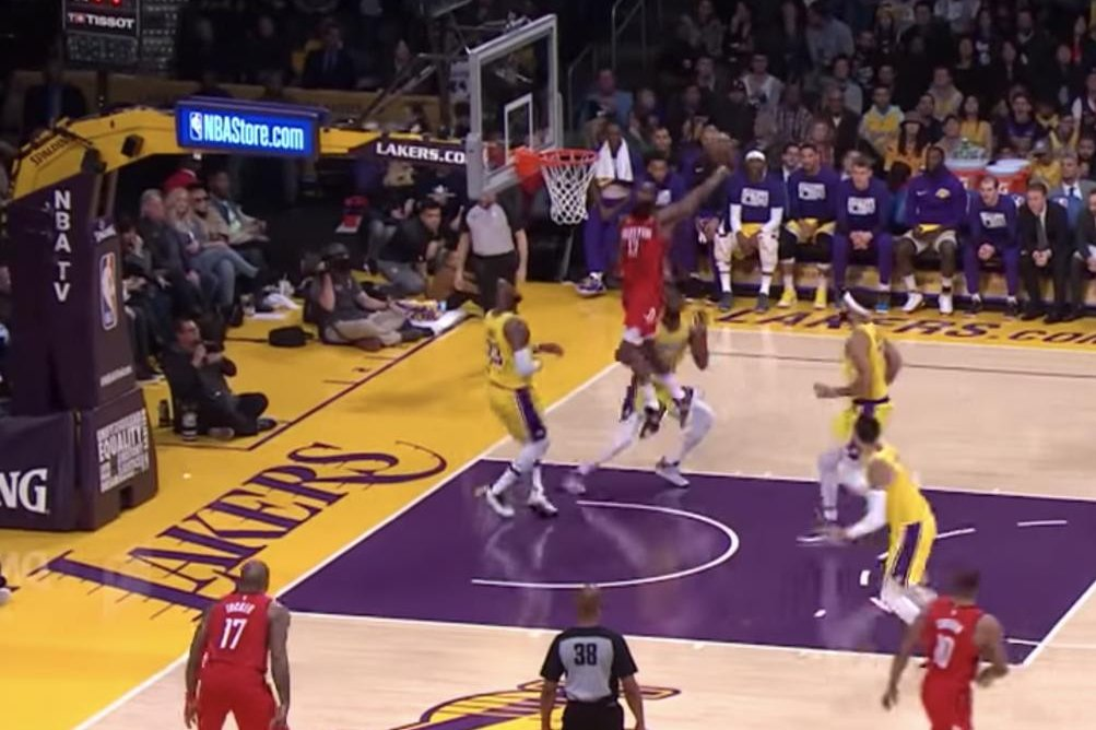 17bac35aca67 James Harden sneaks baseline jam in front of LeBron James - UPI.com