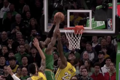 Celtics' Jaylen Brown gets 'bucket list' dunk on Lakers' LeBron James