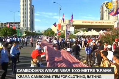 World's longest hand-woven scarf certified in Cambodia