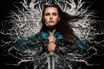 'Cursed': Katherine Langford wields Excalibur in photos from Netflix series