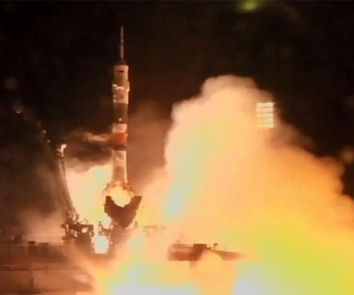 Astronauts on their way to space station after liftoff from Kazakhstan