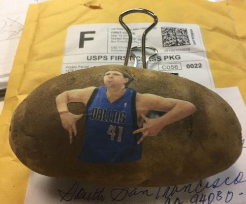 Somebody mailed Dirk Nowitzki a customized potato