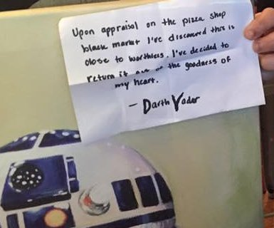 Pizzeria's stolen R2-D2 painting returned with note from 'Darth Vader'