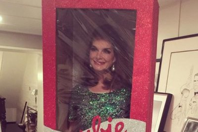 Brooke Shields poses in box as life-size Barbie