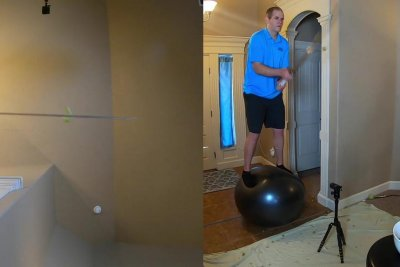 Man stands on Swiss ball, slices 59 grapes to retake world record