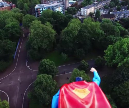 Superman flies by drone to patrol London