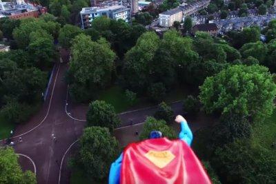 Superman flies by drone to patrol London
