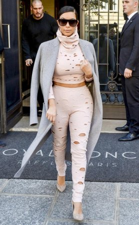 Kim Kardashian dons hole-covered outfit in Paris