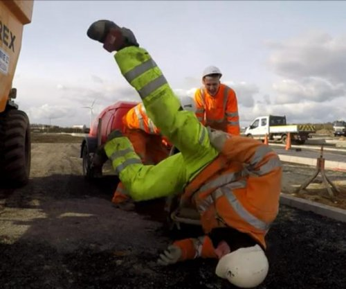 Construction workers take on dizzying 'Cement Mixer Challenge'
