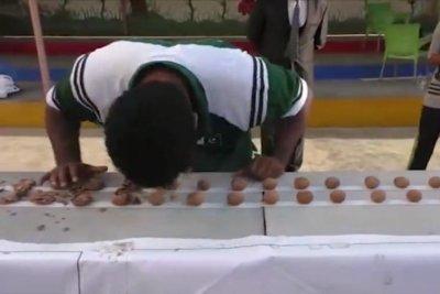 Pakistani martial artist cracks 243 walnuts with his head
