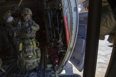Japanese airborne troops jump from U.S. aircraft onto Japanese soil for first time