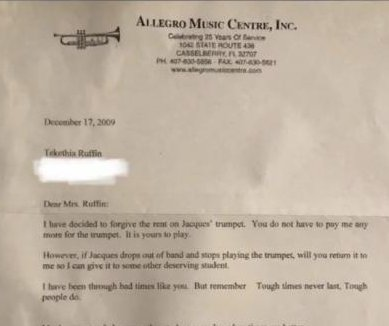 Viral letter reveals Florida music store owner's kindness