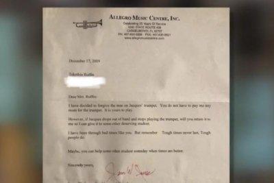 Viral letter reveals Florida music store owner's kindness