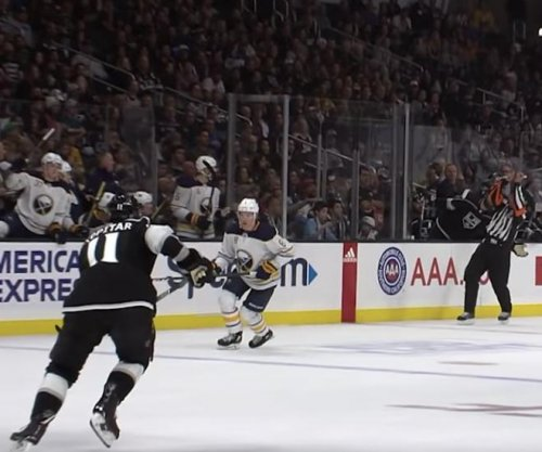 Referee catches flying hockey stick at Sabres, Kings clash