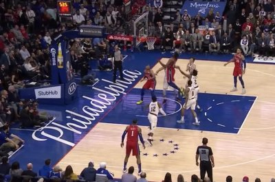 Joel Embiid smashes in own rebound with freakish dunk